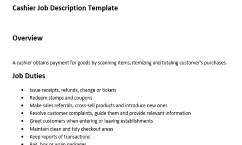 Get The Only Job Description Template For Cashier That Has An Overview,  Duties And Responsibilities Of This Role. This Is The Best Job Description  Sample ... Photo