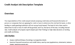 get the only job description template for credit analyst that has an overview duties and responsibilities of this role this is the best job description