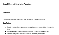 job description of a loan officer
