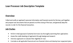 Get The Only Job Description Template For Loan Processor That Has An Overview Duties And Responsibilities Of This Role Is Best
