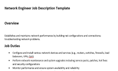Great Get The Only Job Description Template For Network Engineer That Has An  Overview, Duties And Responsibilities Of This Role. This Is The Best Job  Description ...